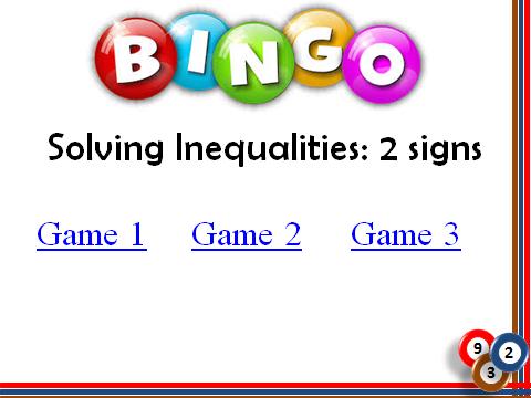 BINGO: Solving Inequalities_2 signs