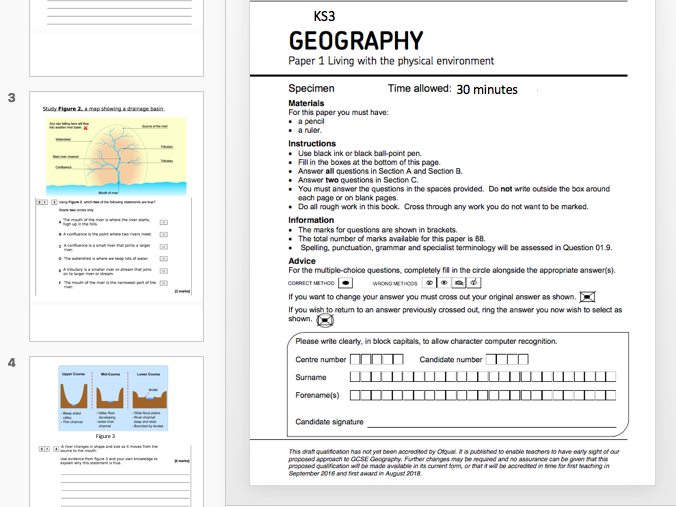 KS3 Rivers Assessment - New AQA 9-1 style