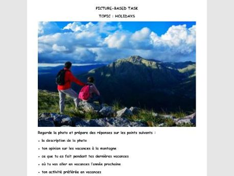 French GCSE Picture-based task holiday