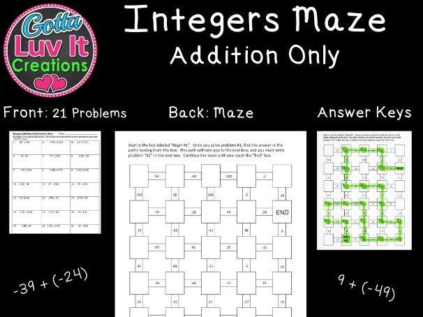 Integers Addition - 2 Mazes