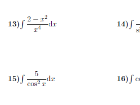 Integration worksheet (with solutions)