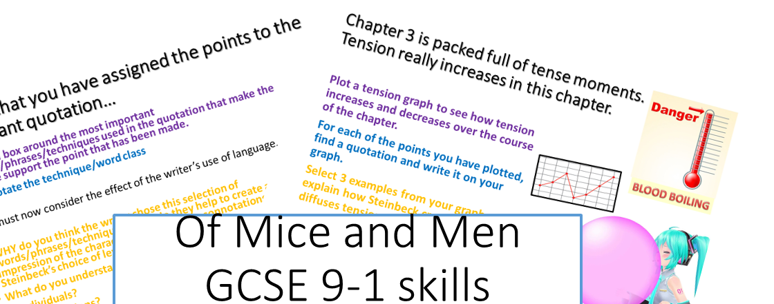 Of Mice and Men Bundle Chapter 1,2,3 and context resources including a revision guide