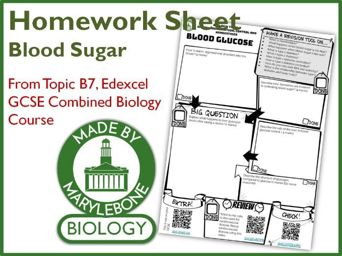 Homework Sheet - Diabetes and Blood Sugar (Edexcel GCSE 9-1 Combined Biology Topic 7)