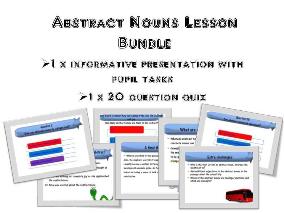 Abstract Nouns Lesson Bundle