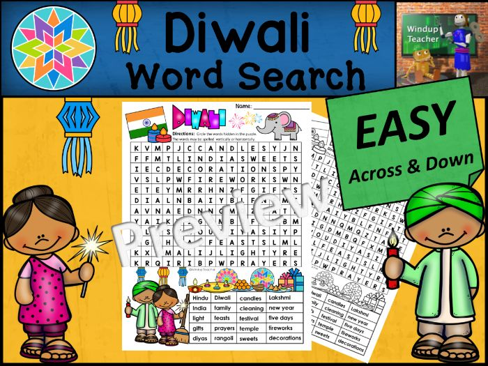 Diwali Word Search | EASY Puzzle | Ready to Go!