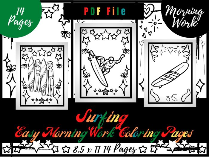 Surfing Morning Work Colouring Pages, Easy Printable Colouring Sheets PDF