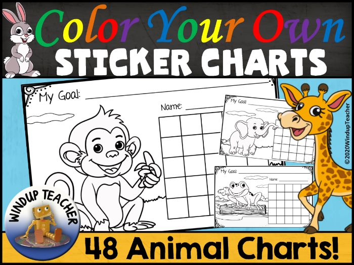 Animal Sticker Chart Bundle Set