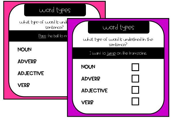 Year 2 Word Types Activity