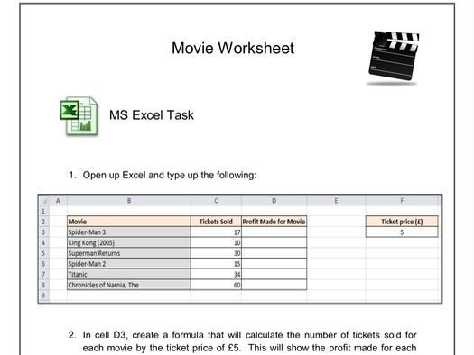 Movie worksheet - Excel/Word/ICT Questions/Email Tasks