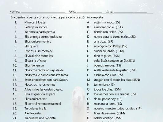 Subject Pronouns Sentence Match Spanish Worksheet