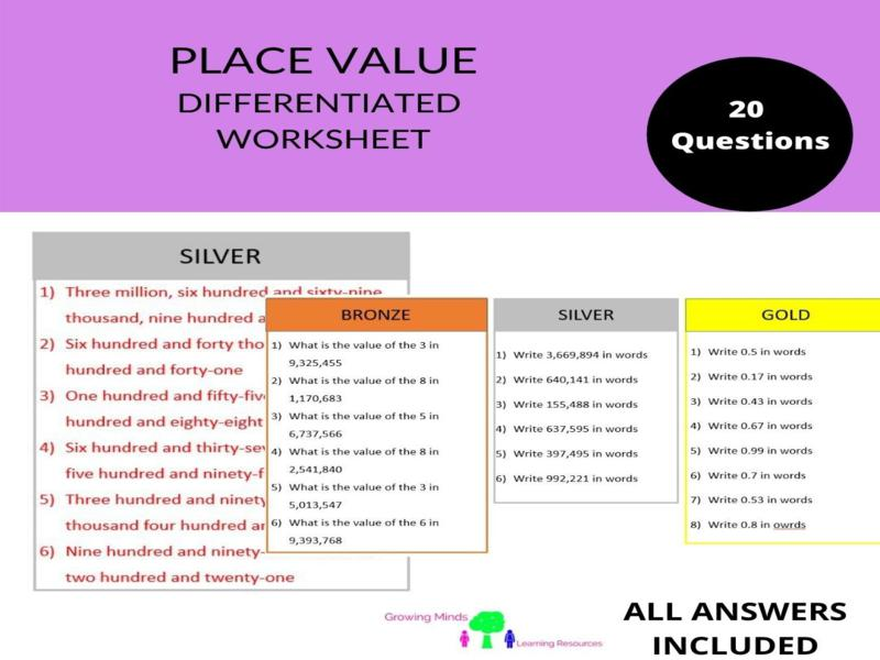 Place Value-Differentiated Worksheet