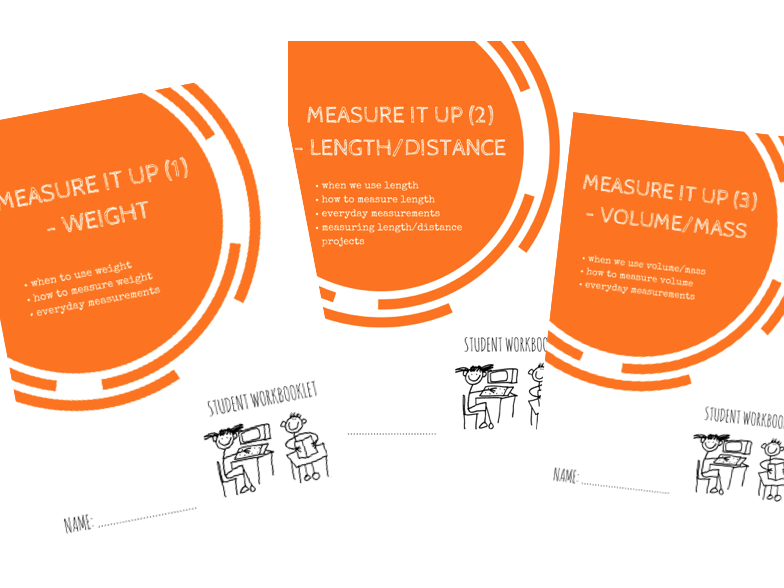 MEASURE IT bundle - x3 workbooklets WEIGHT, LENGTH, MASS