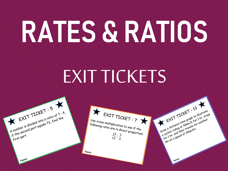 'Rates and Ratios' - Exit Tickets
