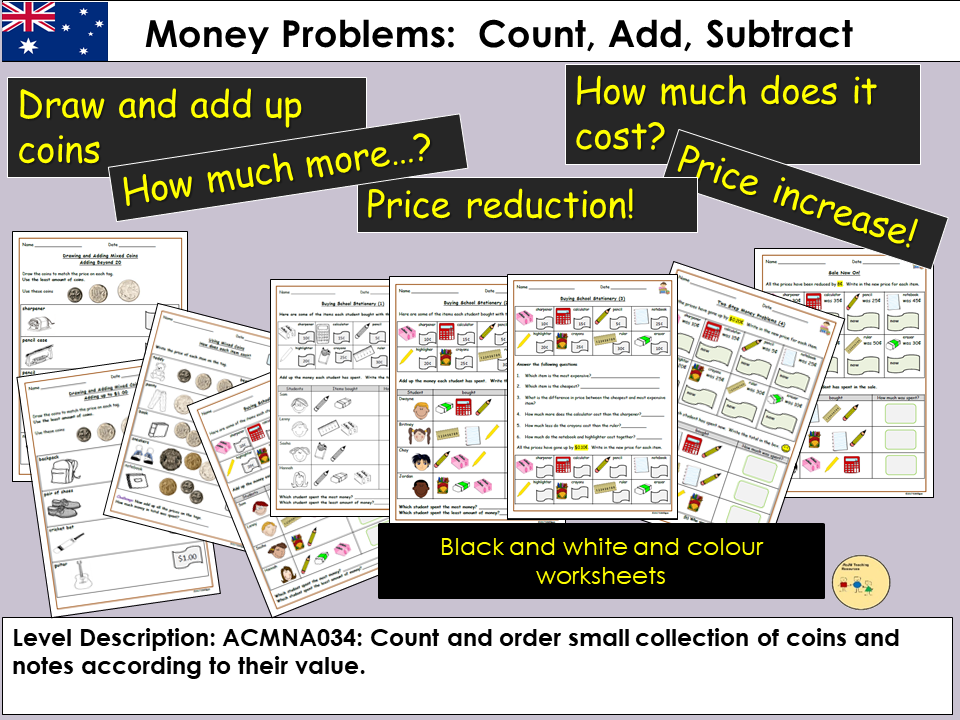Australia Money Problems Count Add And Subtract Draw Coins To Match Price Tags Worksheets Teaching Resources