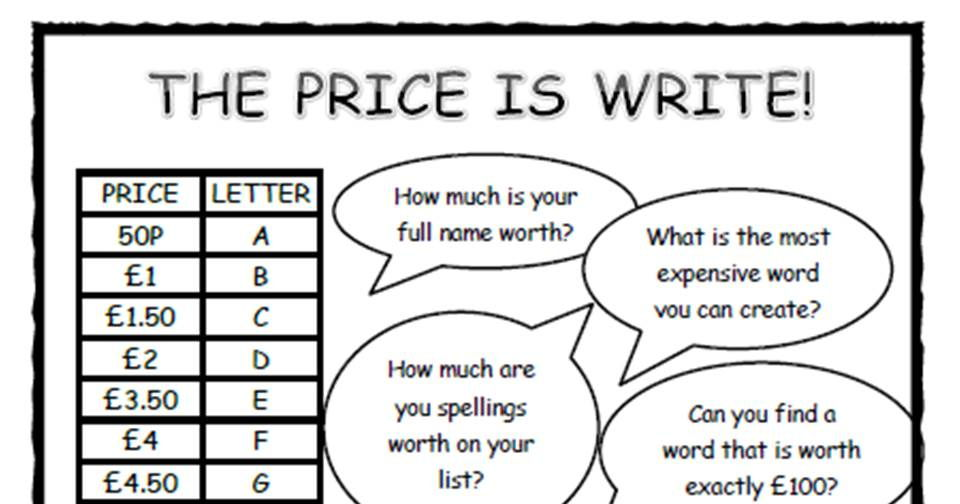 10 PRICE IS WRITE! GAMES spelling and maths!
