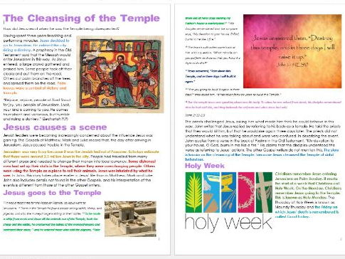 Jesus in Jerusalem: Cleansing the Temple: Differentiated Activity Sheets