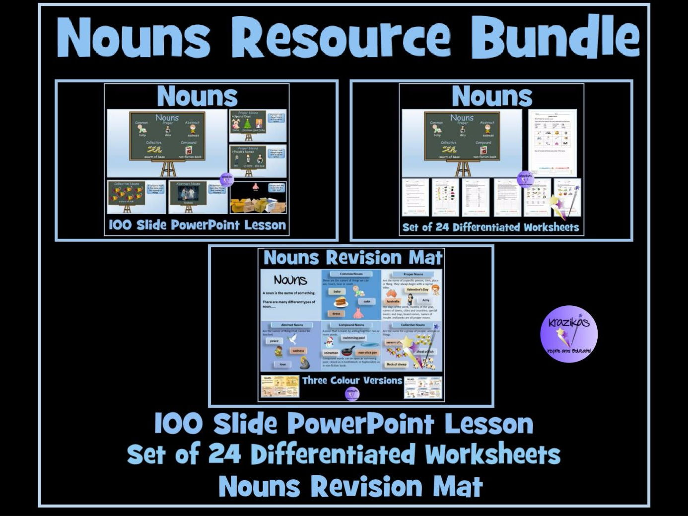 Nouns - 100 Slide Lesson PowerPoint, Set of 24 Differentiated  Worksheets and Noun Revision Mat