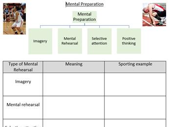 GCSE PE OCR 9-1 Sports Psychology Mental Preparation worksheet