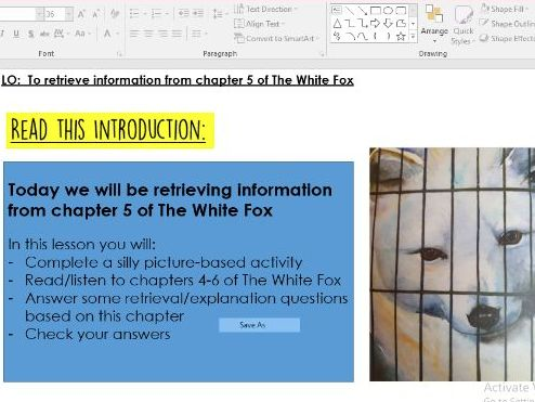Year 4/5/6 The White Fox - 4-6 - RETRIEVAL SATS-STYLE - WHOLE CLASS READING