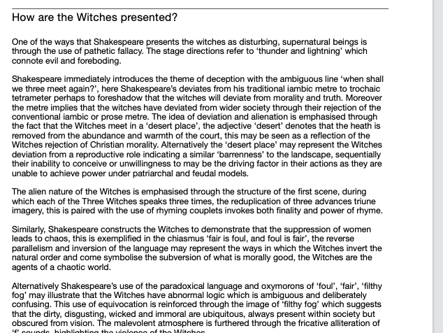 How are The Witches presented in Macbeth? Grade 9 analysis