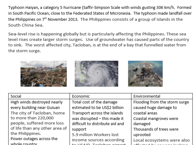 Tropical Cyclones: Typhoon Haiyan and Hurricane Sandy -Located Example Summary Pages