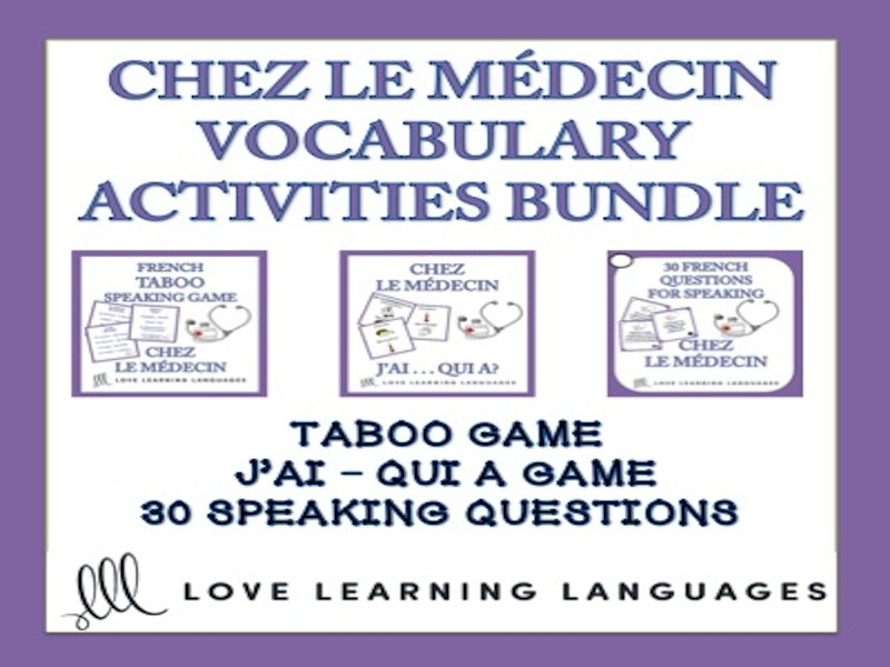Chez le Médecin - Vocabulary Speaking Activities BUNDLE