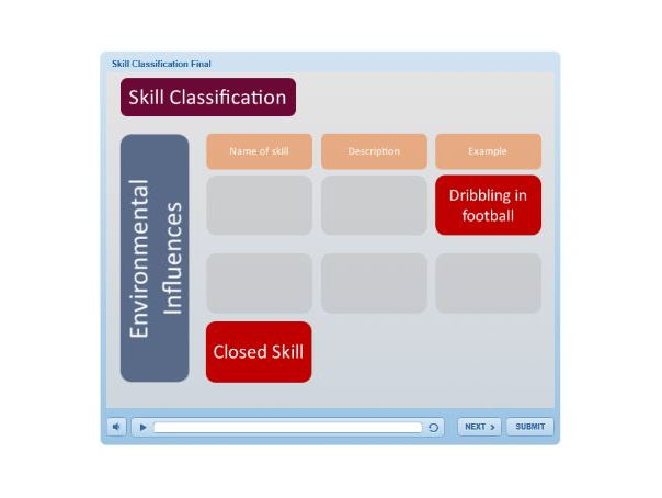 A Level PE (2016): Skill Classification Drag and Drop e-Learning Activity