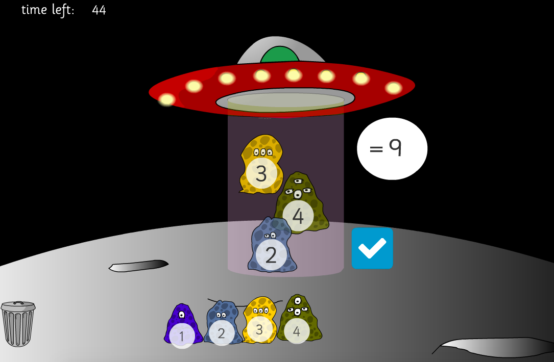 Addition to 10 - Adding Aliens: Beam me up Interactive Game - KS1 Number