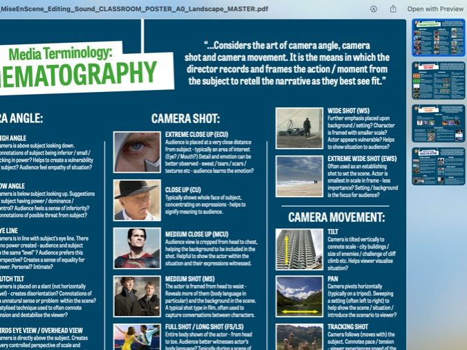 Media Classroom Posters MEGAPack - MiseEnScene / Cinematography / Editing / Sound (A0 - Shrinkable)