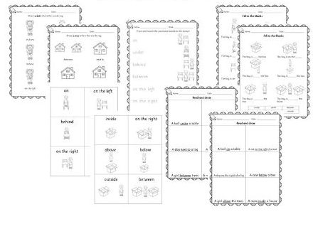 Prepositions Positions directions worksheets and flashcards - Maths in Reception / Year 1