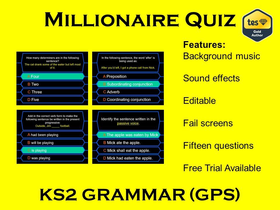 Millionaire Quiz! (KS2 Grammar GPS Edition)