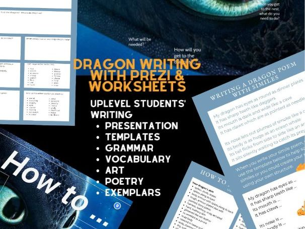 Complete dragon writing sow: vocabulary, grammar, art activities & templates