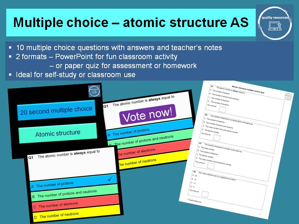 Multiple choice questions Atomic Structure AS