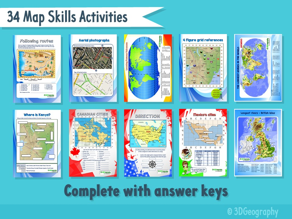 34 Map skills activities complete with answers