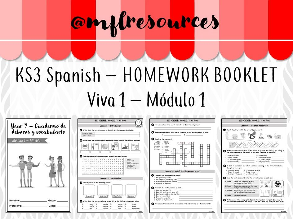 KS3 Spanish - Homework booklet for Viva 1 - Module 1 (with answers) - B/W version