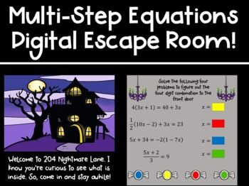 Solving Multi-Step Equations Digital Escape Room for Distance Learning