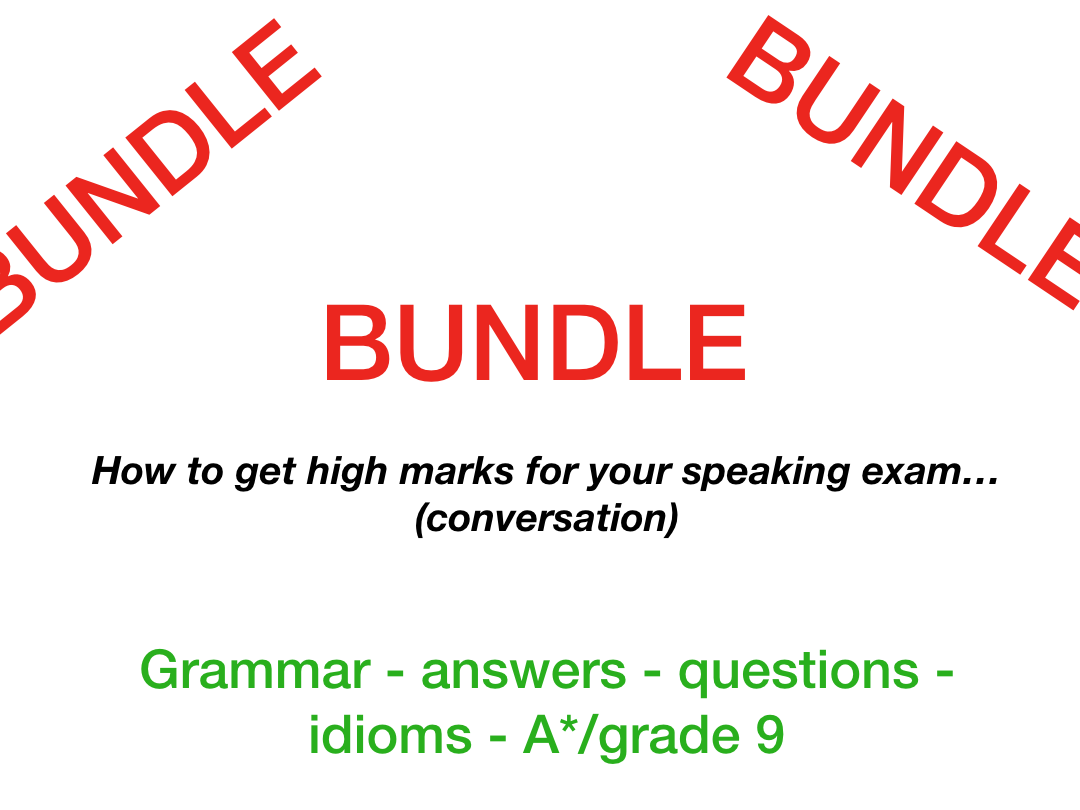 iGCSE GCSE speaking conversation - help - questions - Grade 9 - A* (worth £21.9)