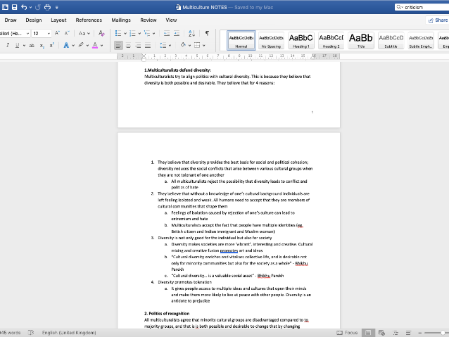 Multi-Culturalism Notes: A2 Government & Politics