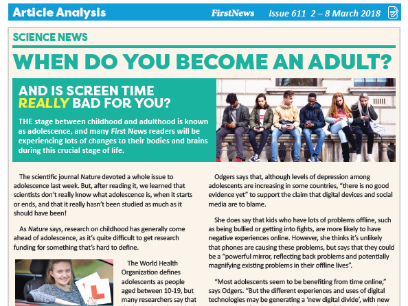 KS3 News Comprehension: When do you become an adult?