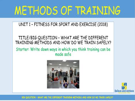Methods of Training: BTEC Sport level 2 Unit 1 (2018)