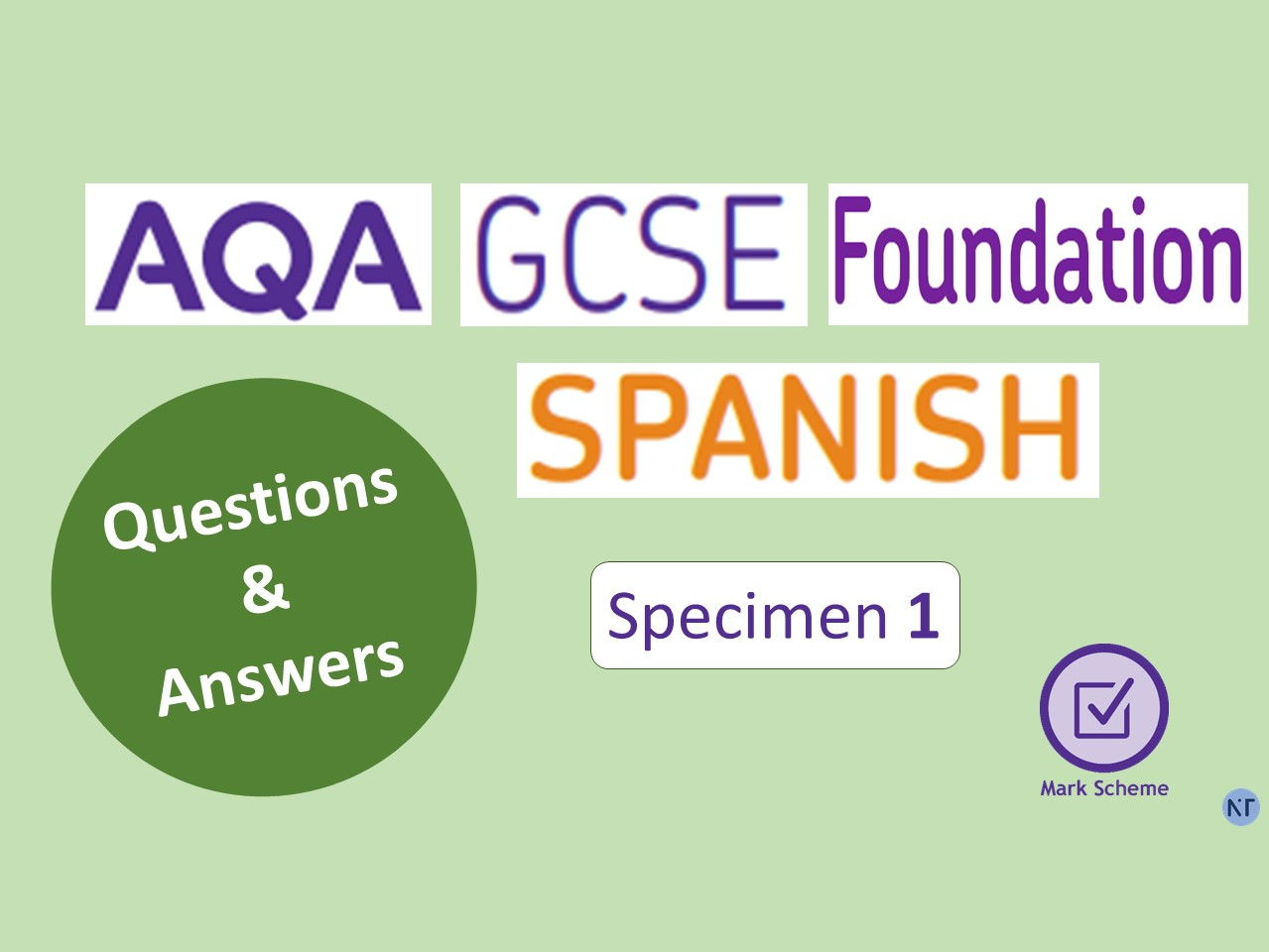 GCSE Foundation Specimen 1: Papers 1,2,3, 4