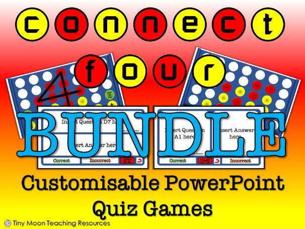 Connect 4 / 4 in a Row PowerPoint Quiz Game - All Versions