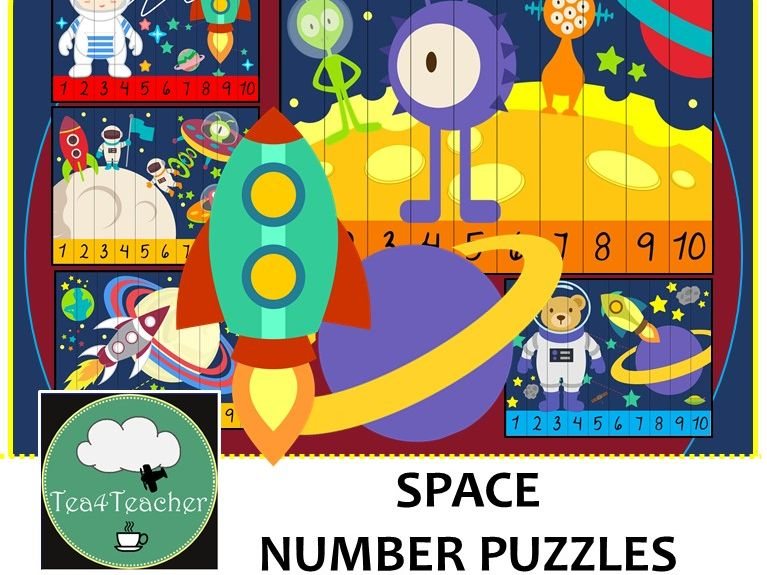Space Number Puzzles - 20 Preschool Primary Space Puzzles 1-10 + Times Tables