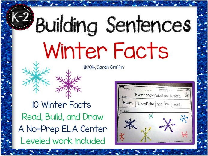 Building Sentences - Winter Facts for Kids - Writing and Science Center