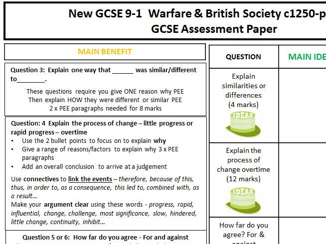 Edexcel GCSE History 1-9 Assessment Cover marking sheet for Warfare & British Society c1250-present