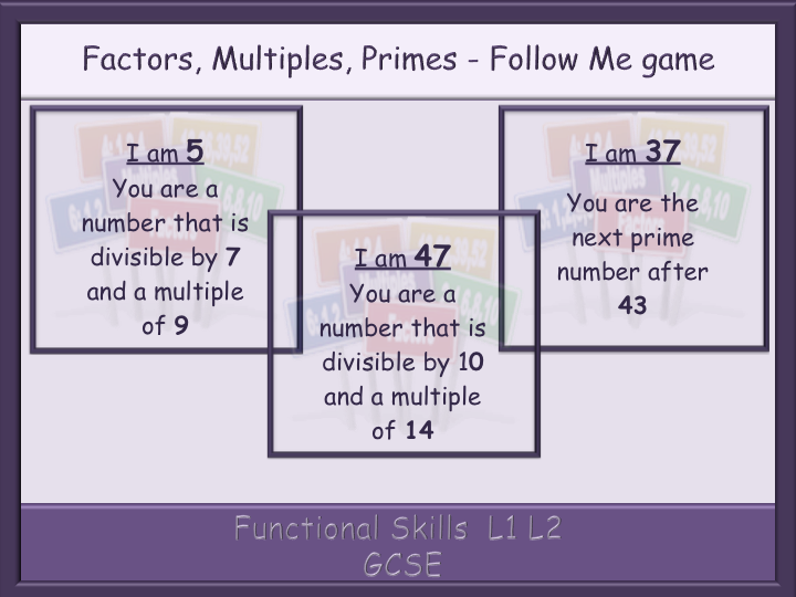 Factors, Multiples, Primes - Follow Me game - Functional Skills  L1 L2 GCSE