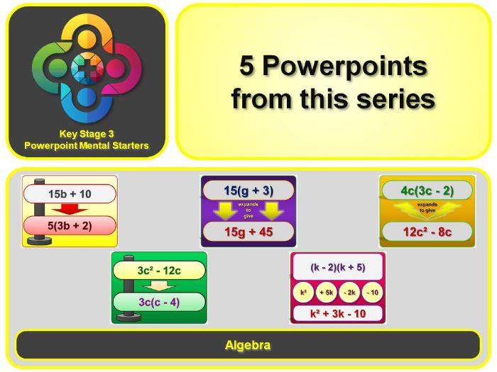 KS3 Maths Mental Starters:  Algebra – Brackets and Factorising