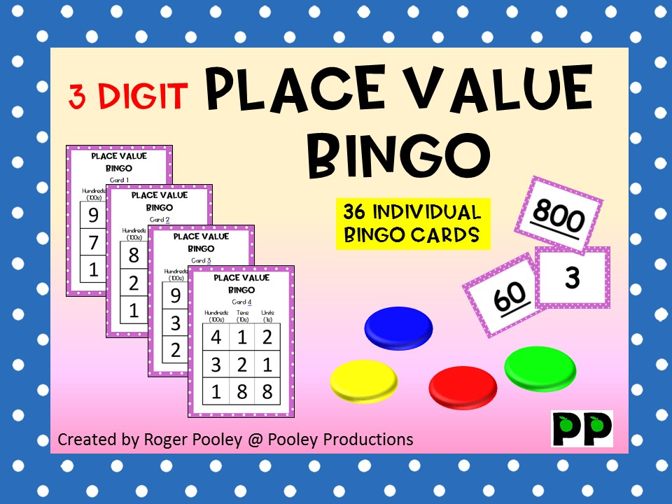 Three Digit Place Value Bingo, Game Instructions, 26 pgs