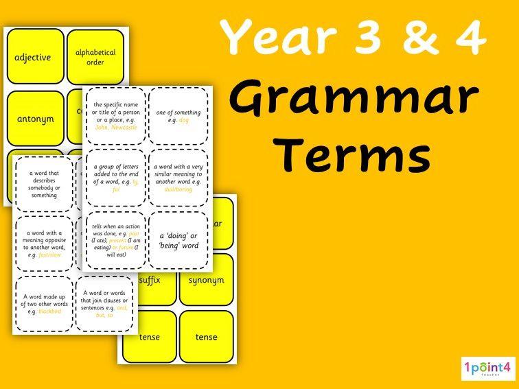 Year 3 & 4 Grammar Flashcards