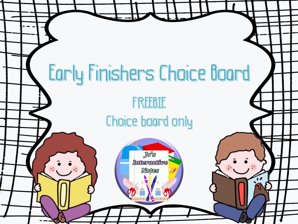 Early Finishers Choice Board FREEBIE